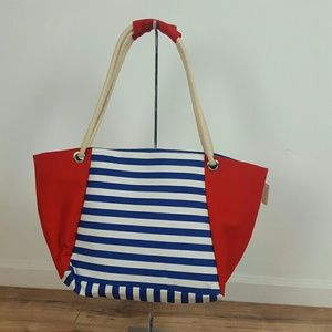 Handbags - NWT. BEACH BAG  WITH BLUE AND RED STRIPES
